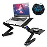 Laptop Desk for Bed, 2020 Upgraded Laptop Stand with Large Cooling Fan & Mouse Pad, Foldable Aluminum Office Laptop Desk for Bed/Sofa/Couch Lap Tray