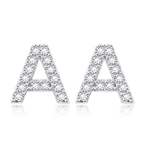Hopeu5 Donne Ragazze Regali di compleanno Orecchini in oro bianco con zirconi cubici placcati in piccole dimensioni (Letter A)