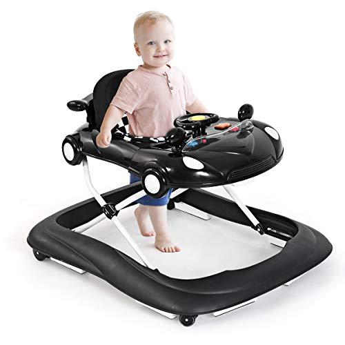 GOPLUS Baby Lauflernhilfe, Höhenverstellbare & faltbare Gehhilfe, mit bequemem Sitzkissen, Lauflernwagen mit Musik & Anti-Rutsch-Funktion, Baby Walker für 6-18 Monate (Schwarz)