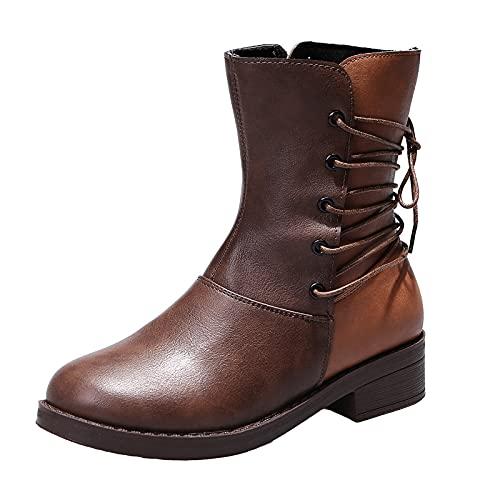 Geilisungren Lederstiefel Damen Weiter Schaft Stiefeletten Flach Leder Ankle Boots Western Cowboy Boots Halbschaft Stiefel Schlupfstiefel Kurze Stiefel Frauen Herbst Winter Komfort Schnürstiefel
