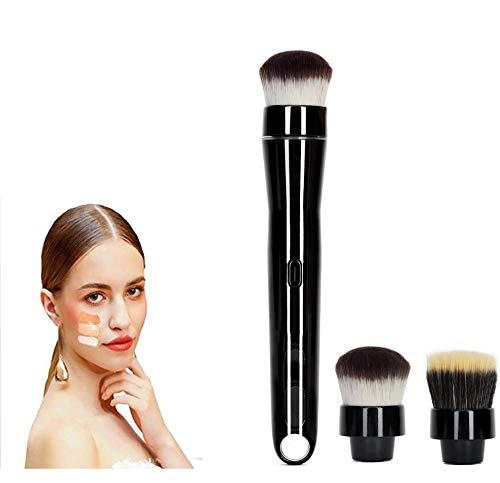 Pinceau de Maquillage électrique Rechargeable, Rotation de 360 degrés, Pinceau de Maquillage Automatique avec têtes de Fard à Joues 2Pcs Foundation pour Femmes Filles
