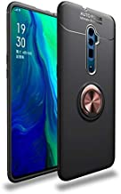 Anti-fall Phone Case for Oppo Reno 10x Zoom Case, Super Slim Soft TPU Case, 4-edge Shockproof Case wtih Color Metal Ring Holder Kickstand/Bulit-in Iron Plate (Color : Black+Goldring)