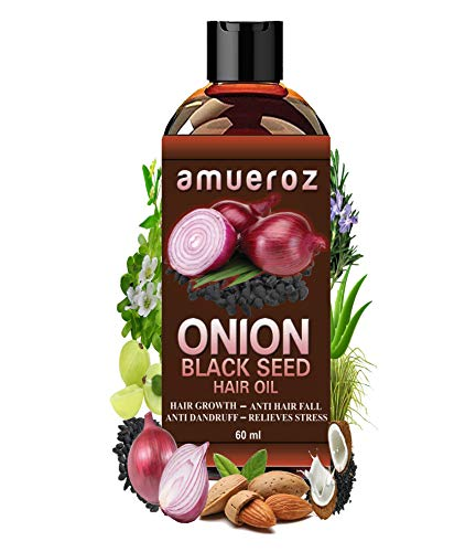 Amueroz Onion Black Seed Hair Oil for Hair Growth, Anti Hair Loss & Anti Dandruff – 60 ml
