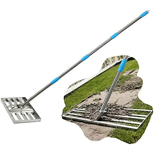 MXBC Golf Garden Grass Levelawn mit 5/6ft-Griff,Rasenrakel Edelstahl, Hochleistungs-Edelstahl-Hochleistungs-Rasen-Push-Level-Tool Golfausrüstung(1.6/2 m, 25 x 43 cm)