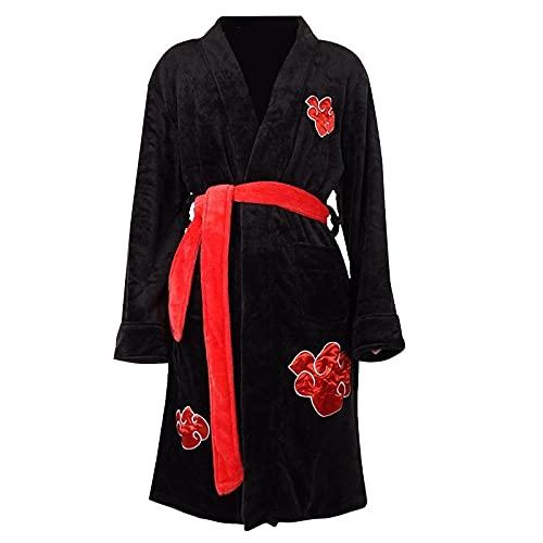 Heldig Camisón de los Hombres Naruto Uchiha Itachi Albornoz Cosplay Ropa (Color : Negro, Tamaño : S)