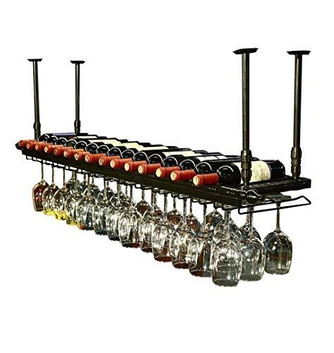 Decoraciones De Pared Estantes De Vino De Pared Estante De Almacenamiento De Hierro De Metal En Bar Loft Cube Techo Colgante De Pared Vino Vaso De Champán Vaso Estante para Vasos Porta Botel