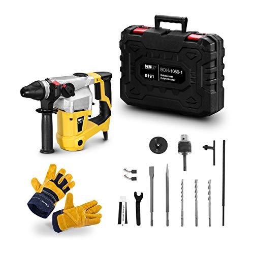 MSW Bohrhammer SDS Plus BOH-1050-1-SET Bohrmaschine 1050 W 5200 S/min 1050 U/min + Arbeitshandschuhe 10/XL