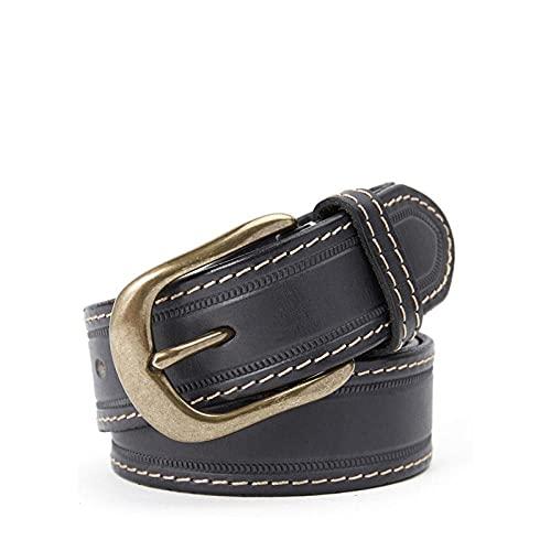 MIKUAP Cinturón De Hombre Con Hebilla De Cobre Para Hombre, Hebilla De Pasador, Cinturón De Hilo Grueso, Negro 3.5X145Cm