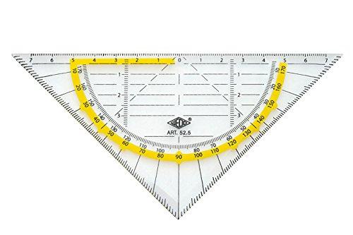 Wedo 525 Geometrie Dreieck 16 cm, Kunststoff, Hypotenuse, Facetten, Tuschenoppen, transparent