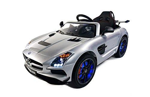 Babycoches - Coche eléctrico para niños Mercedes Benz SLS, con LICENCIA OFICIAL, con mando a distancia para control parental, 12V, color gris metalizado, con pantalla MP4