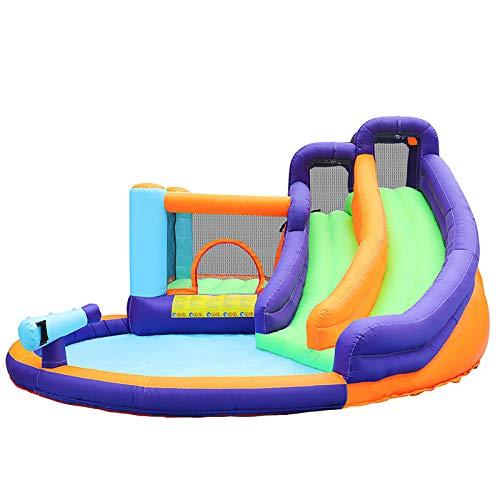 LGLE Castillo Hinchable de Los Niños, Bouncer Inflable y Saltador Inflable Deslizable con la Casa Inflable del Ventilador del Flujo de Aire,435X400X230cm,