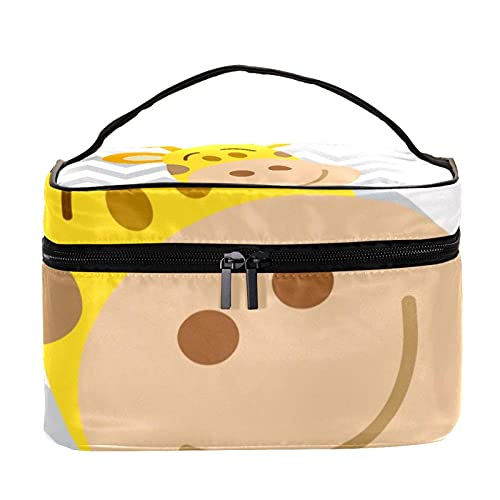 Bolsa de maquillaje con estampado de jirafa, grande, bolsa de maquillaje, organizador con cremallera, para mujeres y niñas