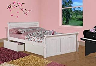 Donco Kids 325-FW_505-W Sleigh Bed with Dual Underbed Drawers, Full, White