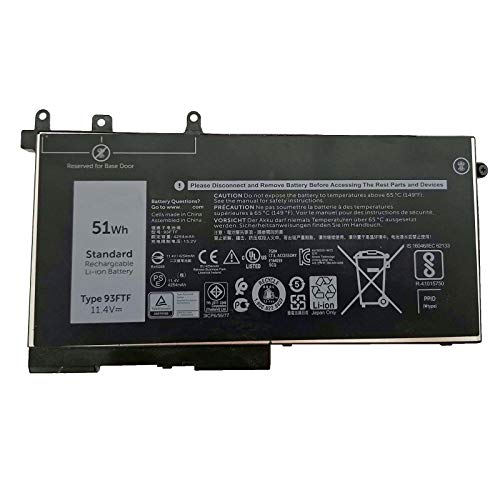 K KYUER 11.4V 51Wh 93FTF Laptop Battery for Dell Precision 15 3520 Mobile Workstation Latitude 5280 5288 5290 5480 5488 5490 5491 5495 5580 5590 3DDDG D4CMT 4YFVG 83XPC 083XPC Replacement Battery