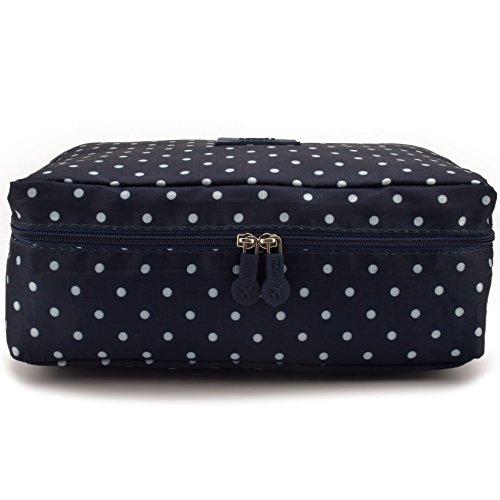 JIARUO Multi-function Makeup Cosmetic Bag Toiletry Travel Kit Organizer (deep blue dots)