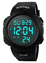 small MJSCPHBJK Men's Digital Sports Watch, Military Watch with Waterproof LED Screen and Large Dial, High Performance …