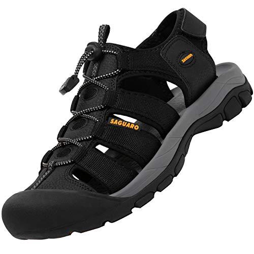 SAGUARO Hombre Sandalias Verano Sandalias de Senderismo para Mujer Antideslizante Zapatillas de Senderismo Transpirable Ligero Sandalias Deportivas, Negro 40
