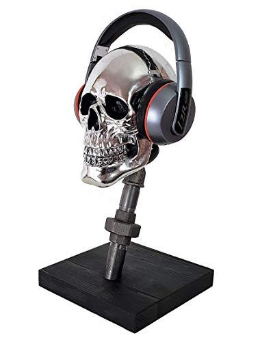 Kopfhörerhalter Kopfhörerständer Helmhalter Headsethalter Helm Kopfhörer Deko Kopf stehend für Tische Totenkopf industrie design retro pipes