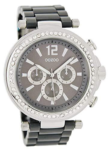 Oozoo Strass Damenuhr mit Kunststoffband 45 MM Silbergrau/Grau C4927