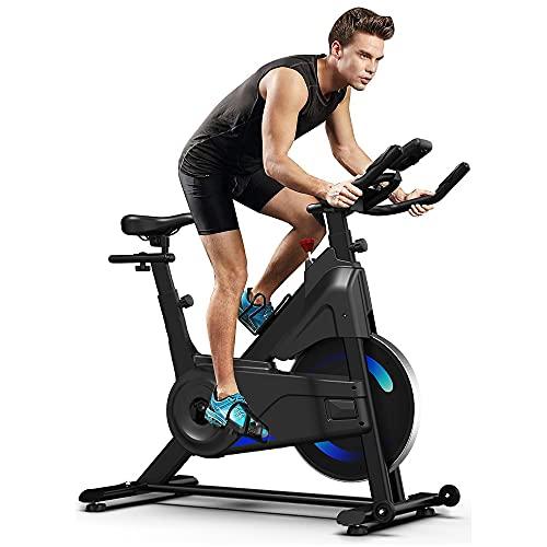 YOLEO Bicicleta estática para ciclismo de interior, Bicicleta de ejercicio de resistencia magnética ultra silenciosa con volante de 20 libras / Pantalla LCD / Sensor de pulso / Soporte para botella