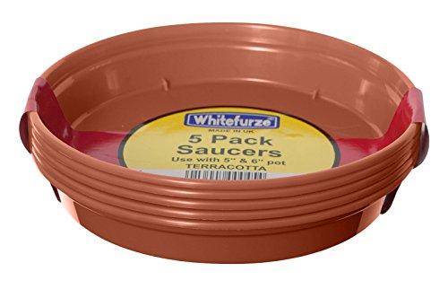 Whitefurze G04118 Garden Pot Saucer for 12.7/ 15cm Pot - Terracotta (Set of 5)