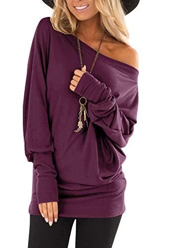 flying rabbit Damen Langarmshirt Damen Shirt Damen Langarm top One Shoulder einfarbig sexy Casual Basic T-Shirt Tops Blouse (Purple, Large)