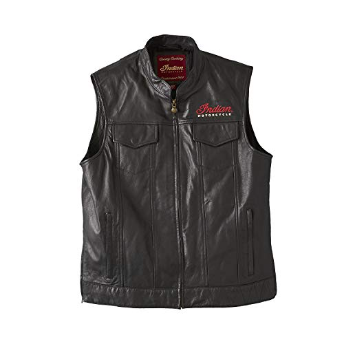 Indian Motorcycle Men's Casual Zip-Up Outsider Leather Vest, Black - 5XL