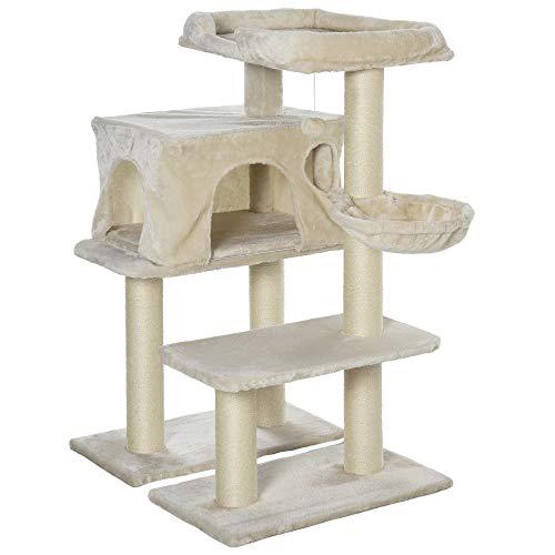 Pawhut Arbre à Chats avec Griffoir Niche Colonnes Renforcées Peluche Courte 70 x 60 x 110 cm Beige