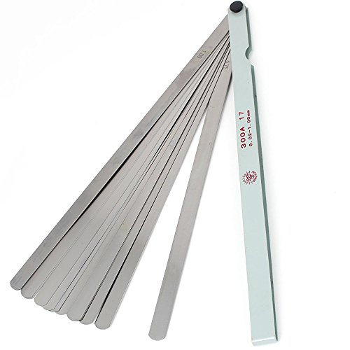 Rannb Metric Feeler Gauge Gap Measurement Tool 300mm/11.8' Long 17 Blades 0.02-1.00mm Thickness