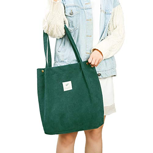 Gophra Corduroy Tote Bag for Women Girls Kids Shoulder Bag with Inner Pocket For Work Beach Lunch Travel And Shopping Grocery (Green)