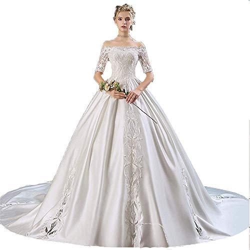 FTFTO Wohnaccessoires Halbarm ohne Schulter Blumenspitze Applique Kapelle Zug Braut Ballkleid Kleid Prinzessin Kleid für Elfenbein XXXL