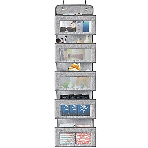 Over the Door Organizer,5-Shelf Over the Door Pantry Organizer,Foldable Wall Mount Hanging Organizer for Bedroom Nursery Pantry Closet Dorm, Beige Baby Storage… (Snow Grey)