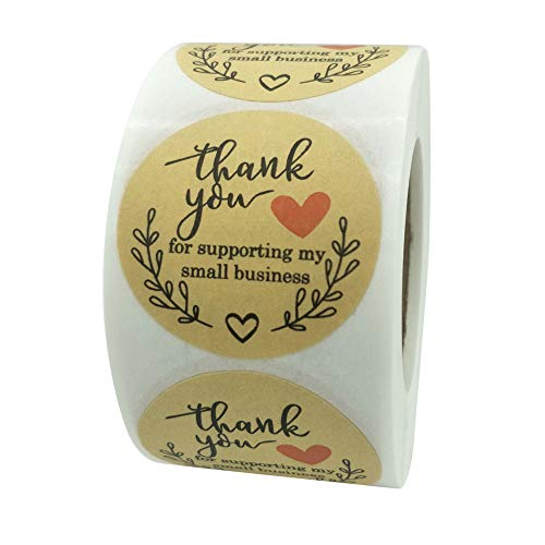 Thank You Stickers,Thank You for Supporting Our Small Business, Kraft Paper Thank You Stickers, Round Labels for Business, Baking Gift Seal Wedding Holiday Label,500 Labels Per Roll1.5''