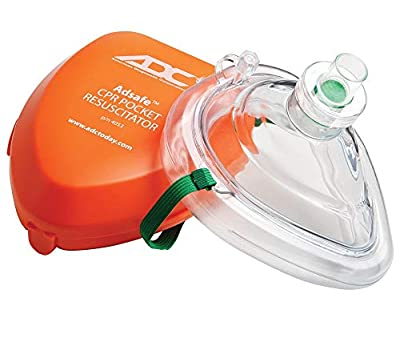 ADC Adsafe CPR Mask Pocket Resuscitator Kit with replaceable filter valve, disposable non-latex gloves, and alcohol wipe; 2 Kits - 4053-2 from American Diagnostic Corporation
