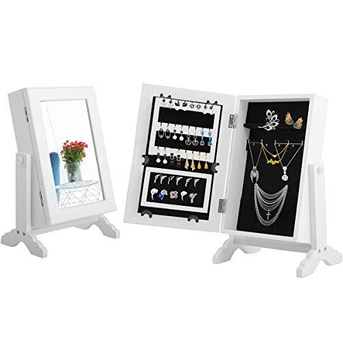 RELAX4LIFE Schmuckschrank, Schmuckregal mit drehbarem Spiegel, Schmuckaufbewahrung für Ohrringe & Kette & Armbänder & Fingerring, Schmuckregal mit Ständer für...