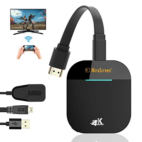 WERPOWER 4K Wireless WiFi Display Dongle HDMI 1080P WiFi Display Receiver Soporte Miracast Airplay DLNA para Chromecast / Android / Smartphone / PC / TV / Monitor / Proyector- Negro