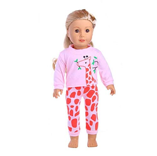 Oulensy Puppe Pyjamas Nachtwäsche PJS Kleidung Schöne Puppenkleidung für 18 Zoll American Girl Our Generation Journey Mädchen Puppe-Kind-Geschenk (rosa Giraffe)