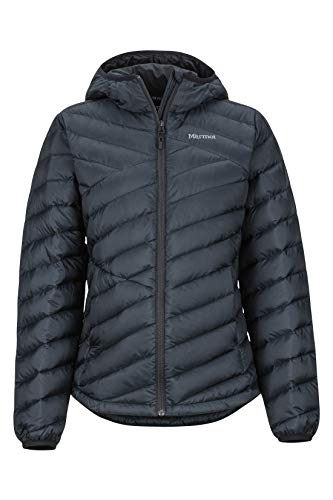 Marmot Damen Wm's Highlander Hoody Ultra-leichte Daunenjacke, 700 Fill-Power, Warme Outdoorjacke, Wasserabweisend, Winddicht, Black, XL