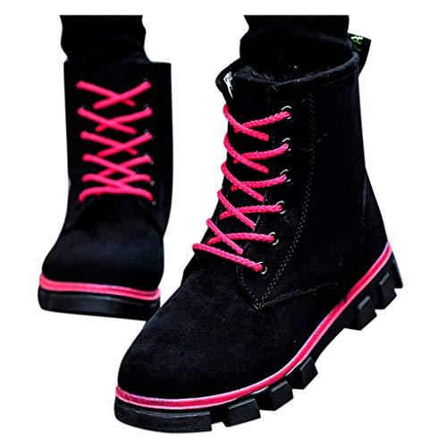 QBQCBB Damen Wildleder, flache Schnürschuhe, hält warm, Schneestiefel, runde Zehenspitze, Outdoor-Stiefel mit niedrigem Absatz - Beige - 36 DE