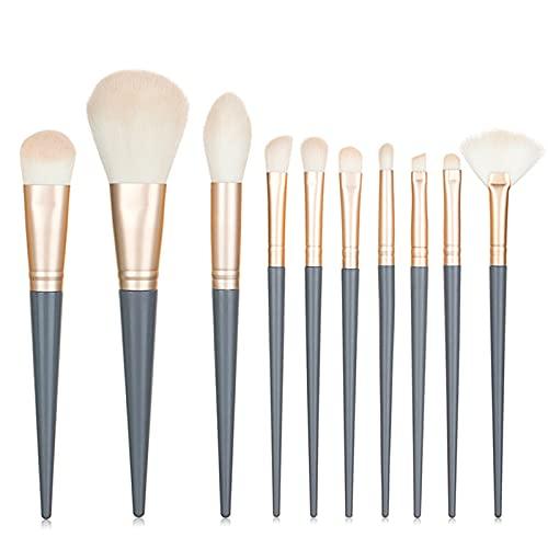 QIANGYI 10 Unids Maquillaje Pincel Set Avanzado Fibra Belleza Cosmético Fundamento Eléctrico...
