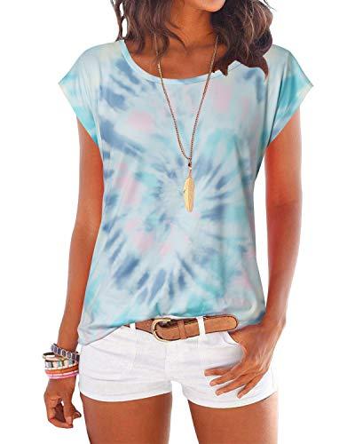 YOINS T-Shirt Damen Shirt Oberteile Sexy Oberteil für Damen Tops Sommer Einfarbig Ärmellos Rundhals mit Sterne Bunt-Grün S