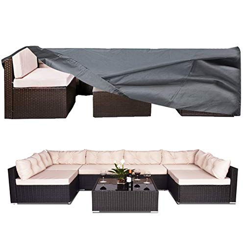 AKEfit 100% Waterproof Patio Furniture Cover, Fits 8-12 Seat, Anti-UV Dust-Proof Snow-Proof Outdoor Sectional Furniture Cover, Rectangular Table Chairs Set Covers with Windproof Buckles Air Vents