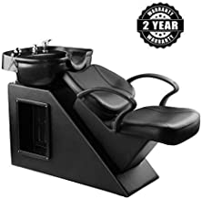 Shampoo Chair Backwash Bowl Unit Station Barber Chair Spa Salon Equipment (Black)