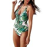 QingJiu Sommer Neue Damen Blatt Drucken Einteiliger Badeanzug mit Neckholder