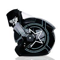 バイクフルフェイスヘルメットバイクフリップアップヘルメットデュアルレンズ防曇フェイスヘルメットDOT 認定バイクCasco Motoストリートバイクレーシングヘルメット E,M(54~55cm)
