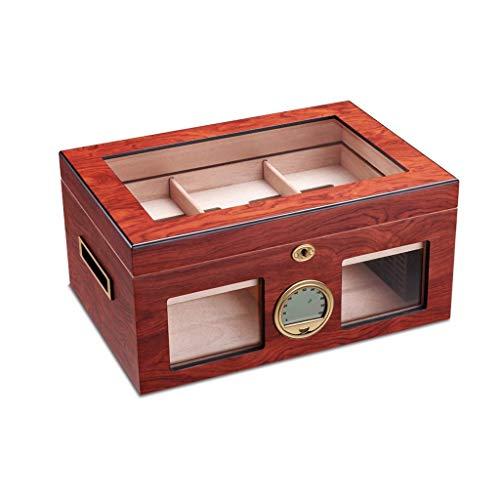 JIAJBG Caja de Cedro de Cedro Caja de Hidratante Humidor Gabinete Humidor Capacidad Grande Ajuste 100 Cigarro Doble Cigarro Humidor Caja de Madera Exquisito/A