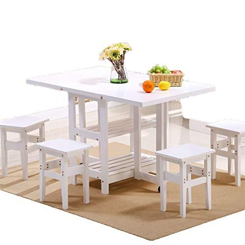 AOIWE Juego de 4 taburetes plegables de madera maciza para mesa de comedor, color blanco, 1,2 m