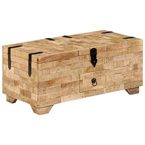 vidaXL Mangoholz Massiv Couchtisch Holztruhe Beistelltisch Kiste Truhe Tisch
