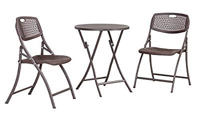 AmazonBasics 3-Piece Foldable Plastic Round Patio Bistro Dining Set, Dark Brown