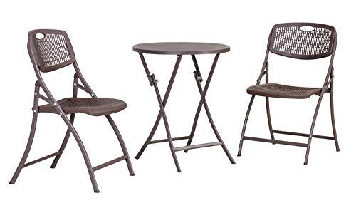 Amazon Basics 3-Piece Foldable Plastic Round Patio Bistro Dining Set, Dark Brown